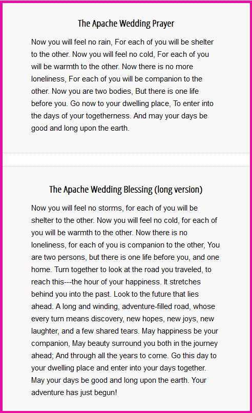 The Apache Wedding Blessing Long And Short Versions Wedding Prayer Wedding Blessing Wedding Readings