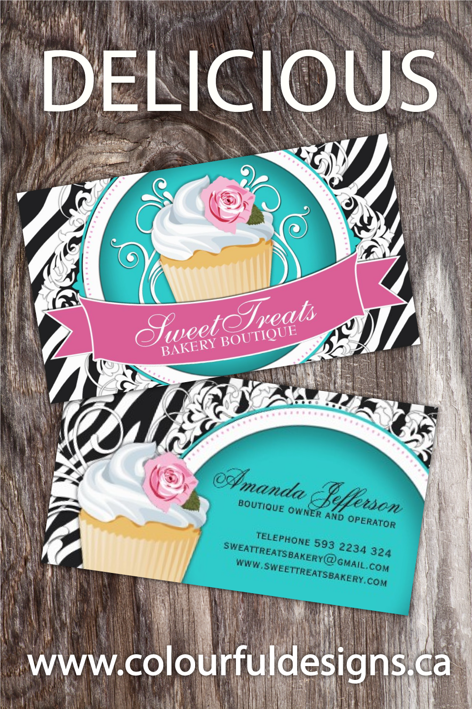Stylish Zebra Print - Cupcake Business Cards | Card templates ...
