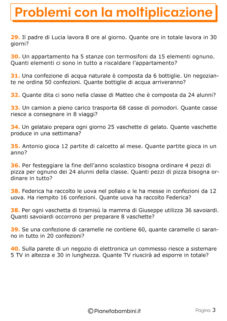 40 Problemi con la Moltiplicazione per la Scuola Primaria ...