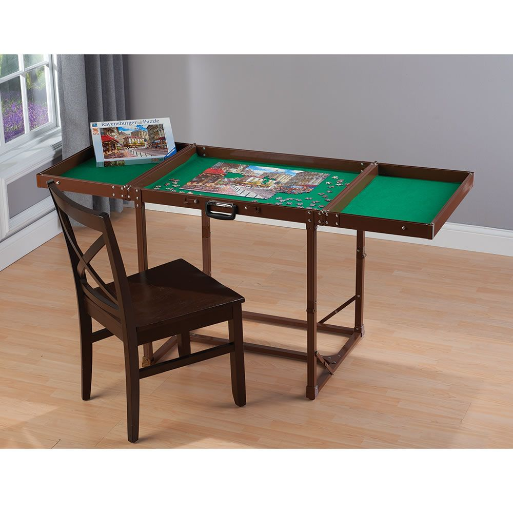 The Easy Fold And Store Puzzle Table Hammacher Schlemmer Puzzle Table Jigsaw Puzzle Table Puzzle Storage