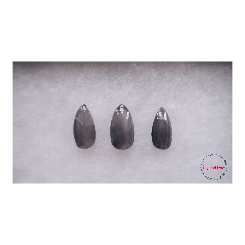Black Quartz Nail Set, 20 nails, fake nails, stiletto nails, gifts ...