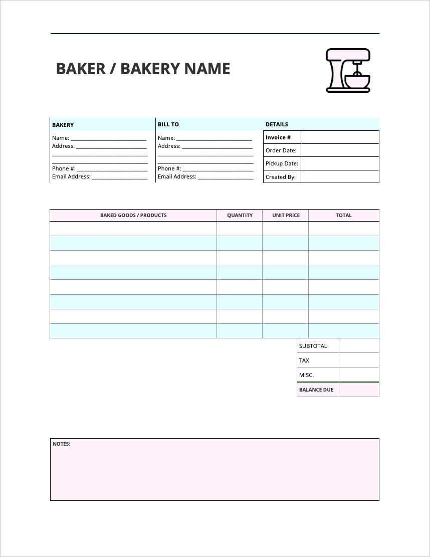 Bakery Invoice Template Invoice Template Template Free Free Email Templates