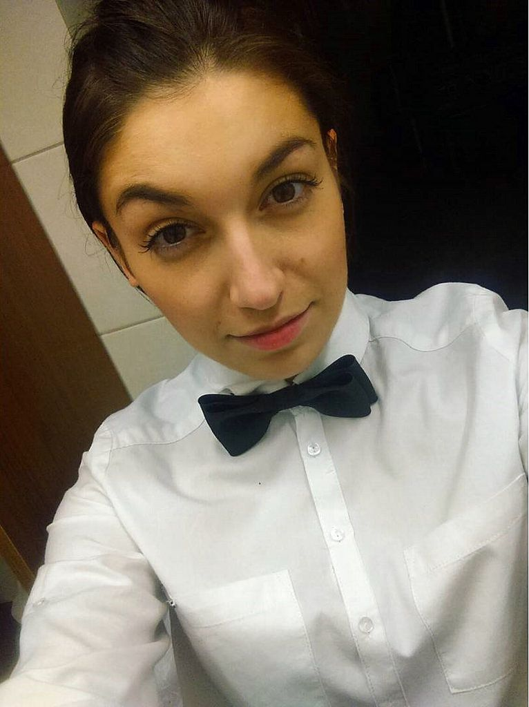 Waitresses Dressed For Work In White Shirt And Black Bow Tie ... 48cfac4a3b