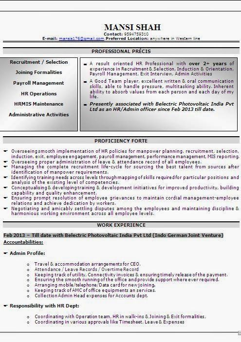 Creating A Professional Cv Sample Template Example Of Excellent