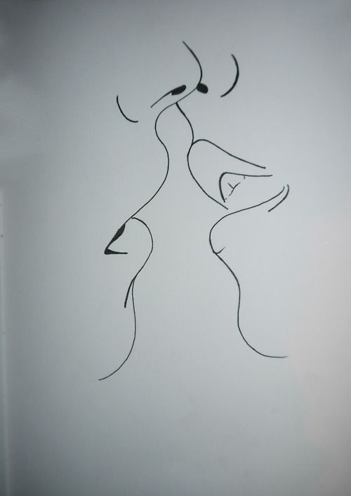 Line Drawing Kiss : Simple drawing of a kiss art inspiration in