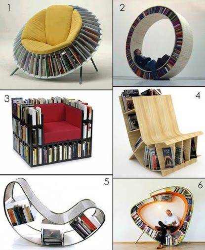 Book Chair And Read Bild Books Pinterest Books - Bookchair combined with bookshelf