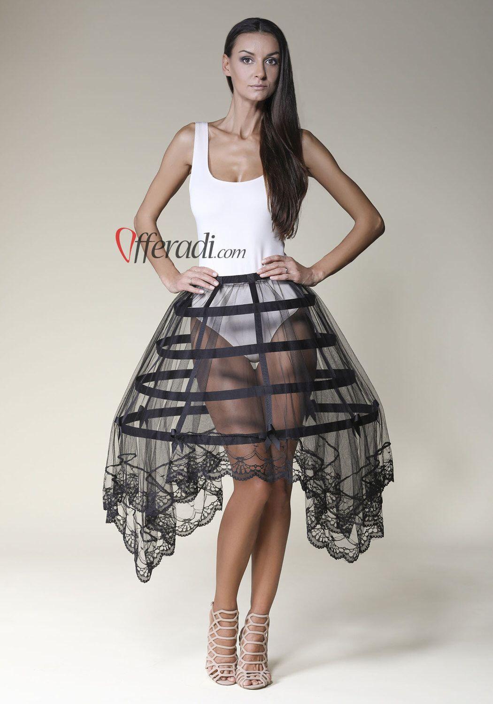 Black Tulle Lace Black Modern Cage Skirt Hoop Skirt Halloween Burlesque  Fetish Victorian