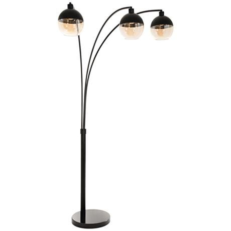 Clear Glass And Matte Black Steel Globe Shades Give An Ultra Chic Look To This Contemporary Multi Light Arc Black Metal Floor Lamp Arc Floor Lamps Floor Lamp