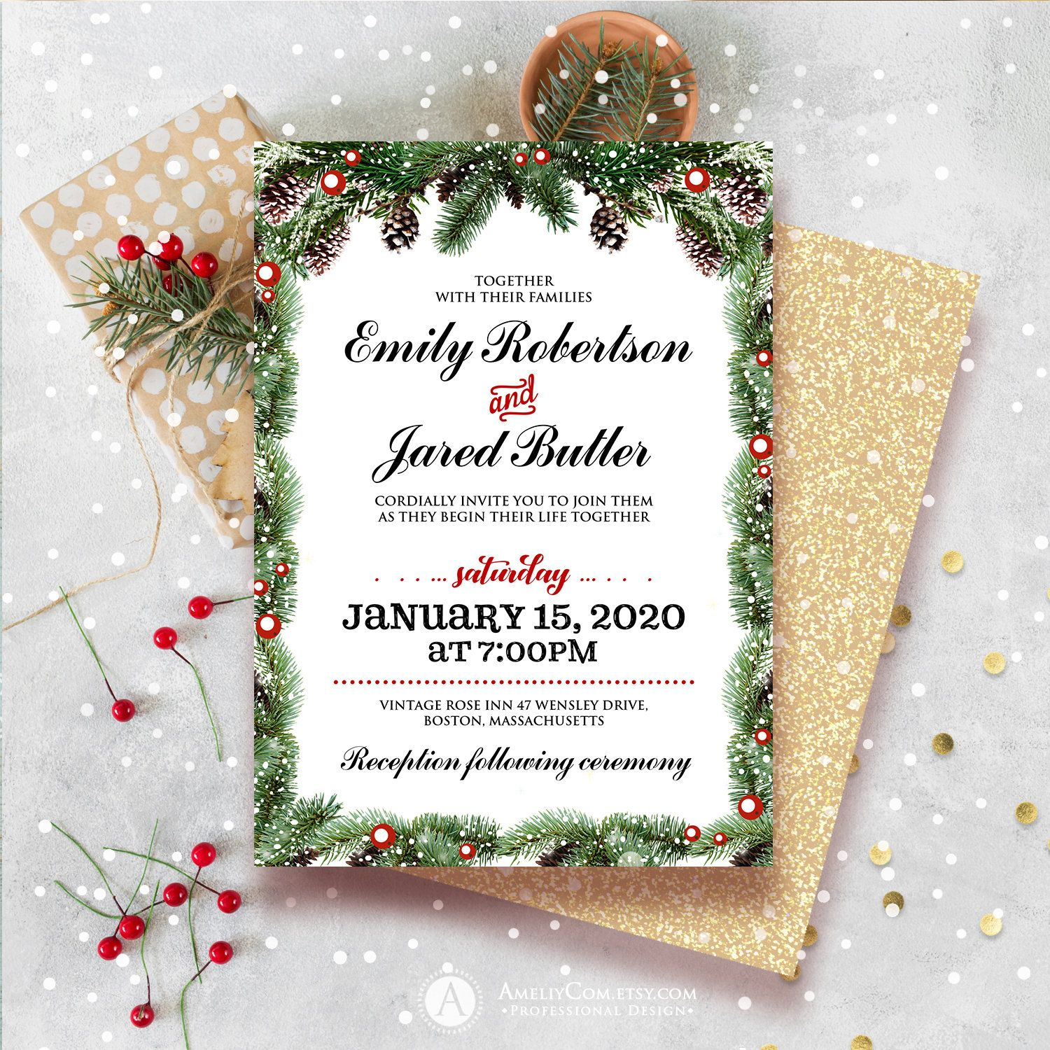 Printable Christmas Wedding Invitation Holiday Wedding Invite Winter Wedding Invitation Download