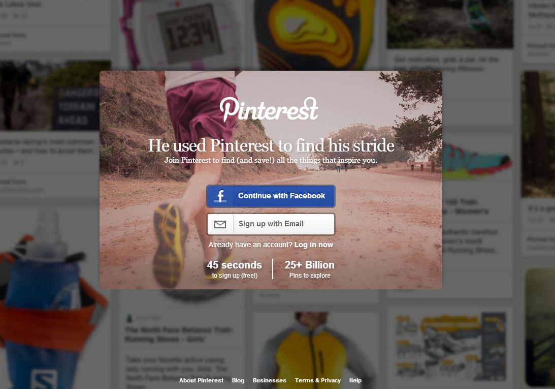 Pinterest Modern login page Log in /Sign in