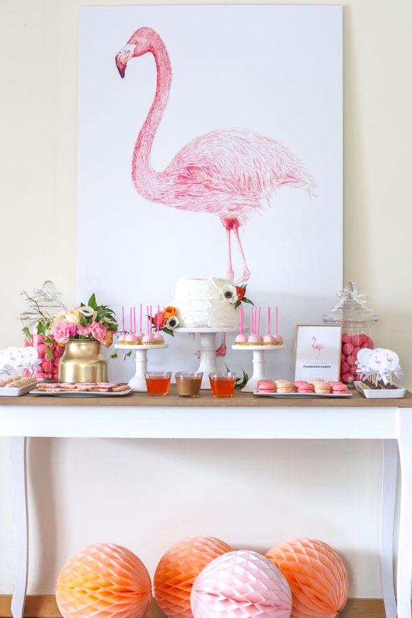 258b3250541 Flamingo-themed bridal shower - pink dessert table  Courtesy of InspireBlog