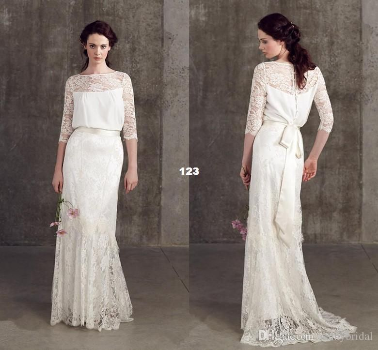 Vintage Wedding Dresses Lace 3 4 Long Sleeve On Bateau Loose Sheer Gowns Dress For Garden Beach Sweep 2017 Online With