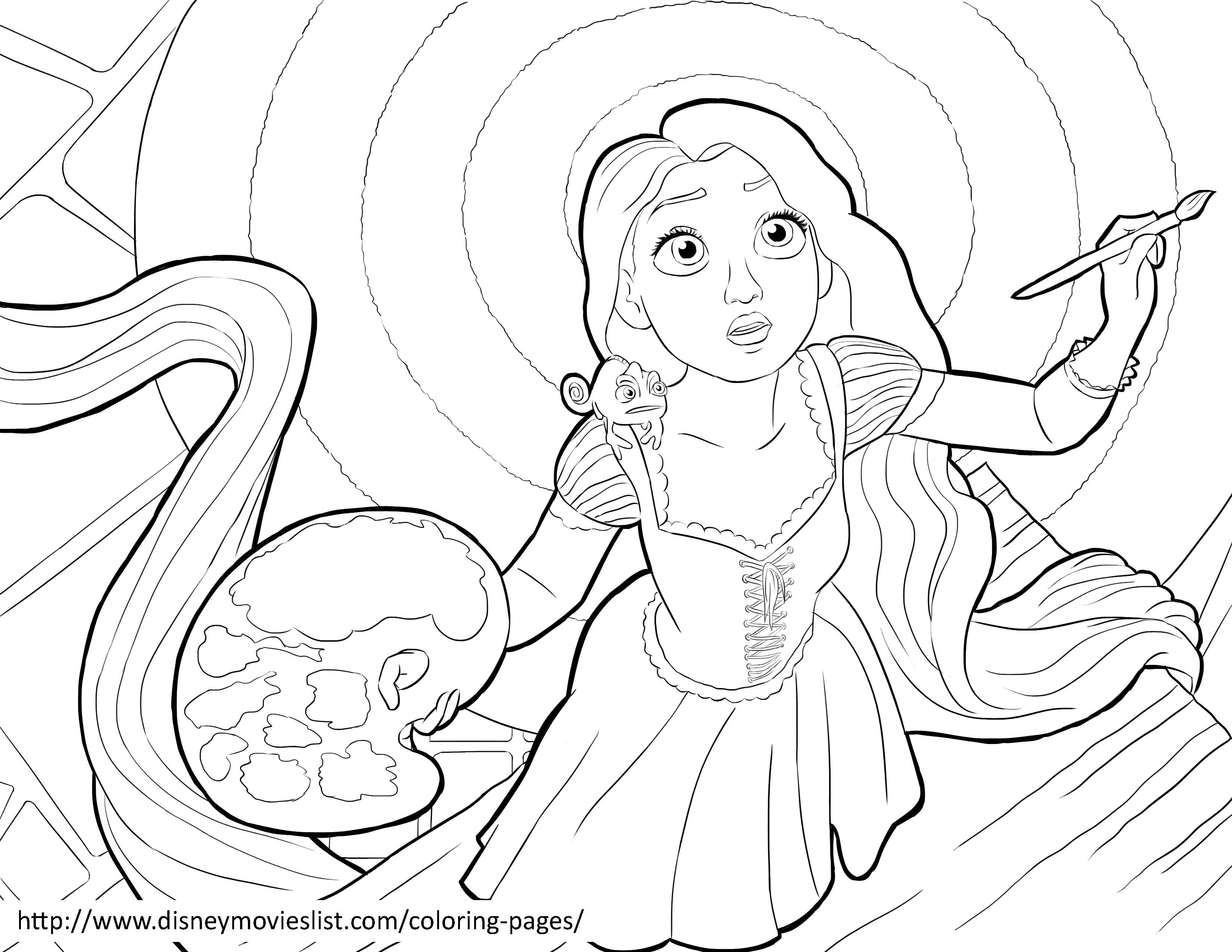 Disneys Tangled Coloring Pages Sheet Free Disney Printable Tangled