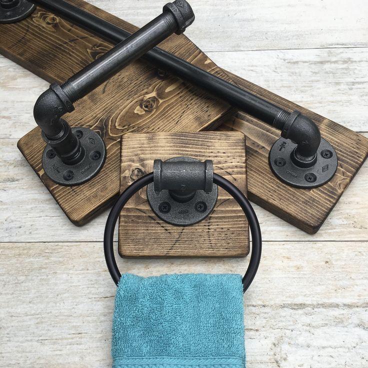 Photo of DARK WALNUT Rustic bathroom set, industrial pipe set, complete bathroom accessories, Rus …