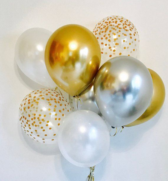 Gold and Silver Balloons, Chrome Silver balloons, NYE 2018 Balloons, Chrome balloons Gold chrome, Silver and Gold Latex Balloons, NYE Party