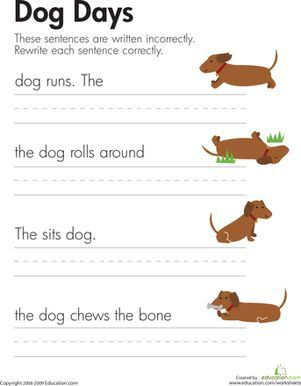 fix the sentences dog days sentence structure activities kindergarten writing writing. Black Bedroom Furniture Sets. Home Design Ideas