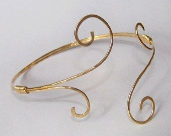 Gold Armlet Upper Arm Cuff Armlet Gold Armband Hammered