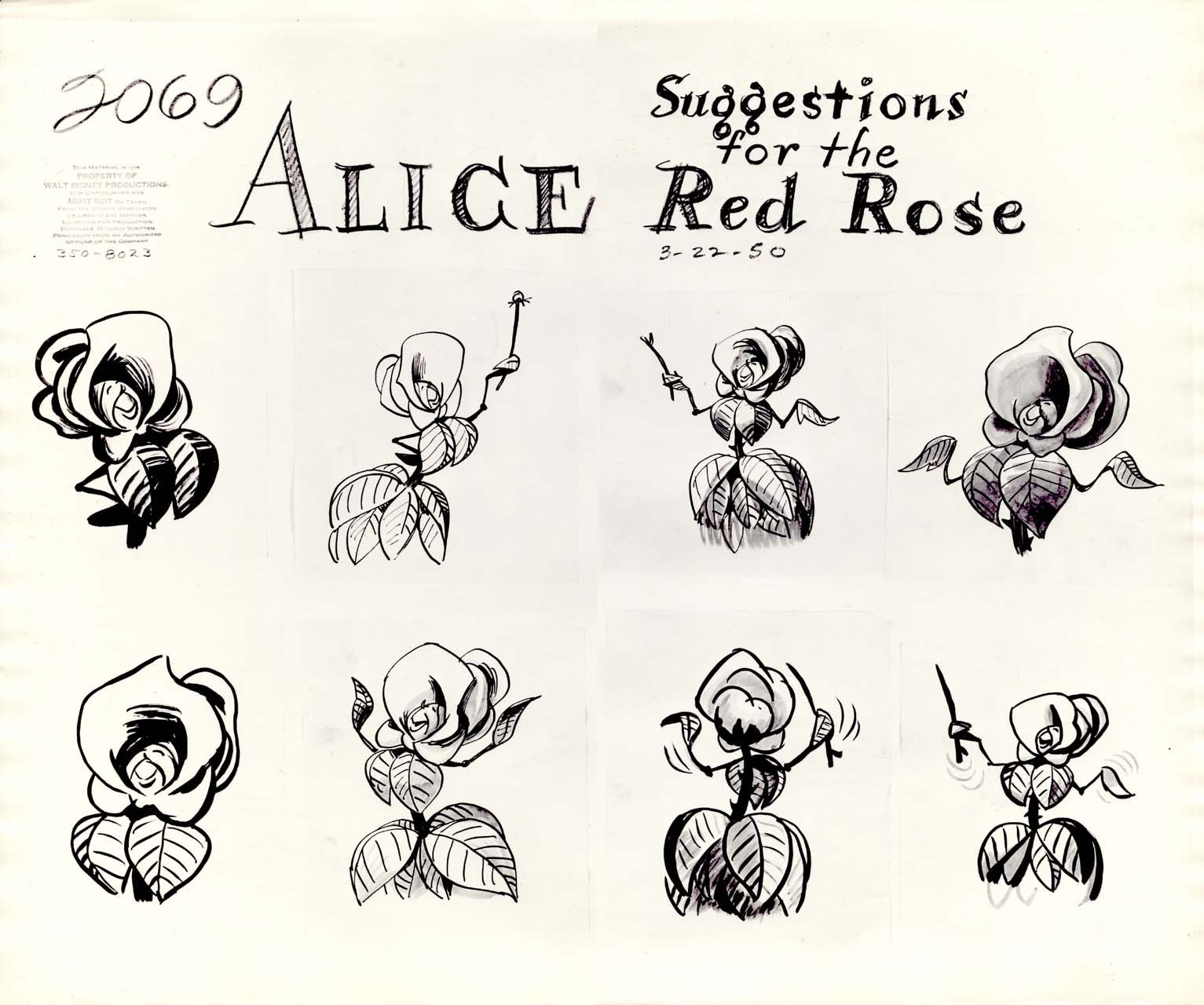 Animation Model Sheet 350 8023 Flower Suggestions For The Red Rose Alice In Wonderland Flowers Wonderland Tattoo Disney Tattoos