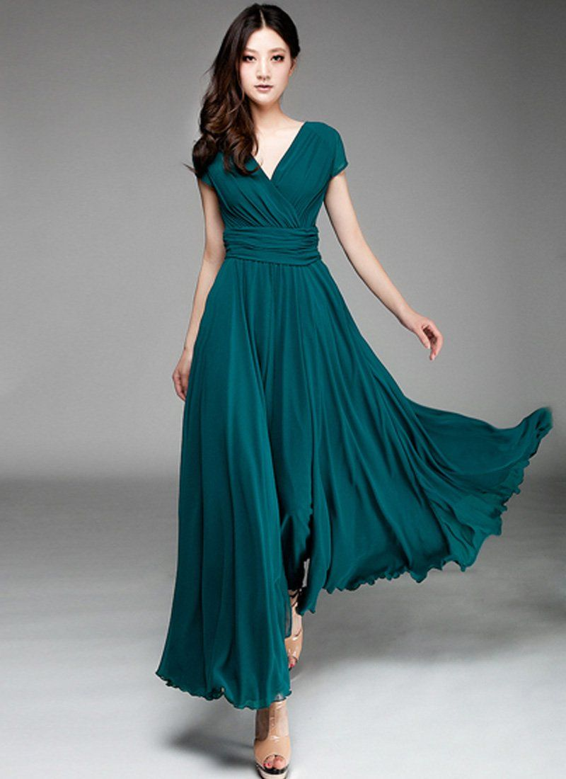 Cap sleeve teal maxi dress with v neck ruched waist yoke