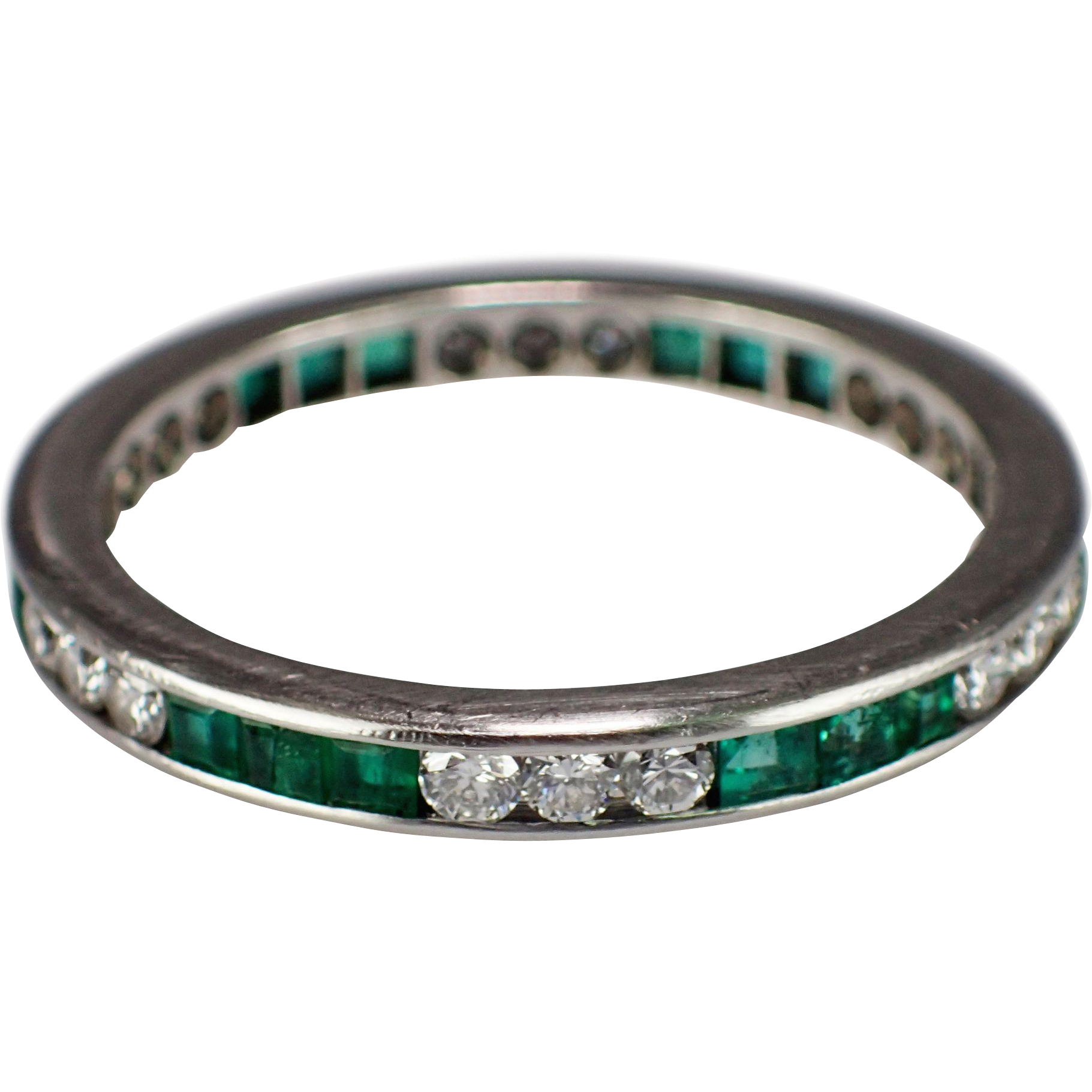 band three platinum product eternity row emerald star bands prong cut shared jb diamond