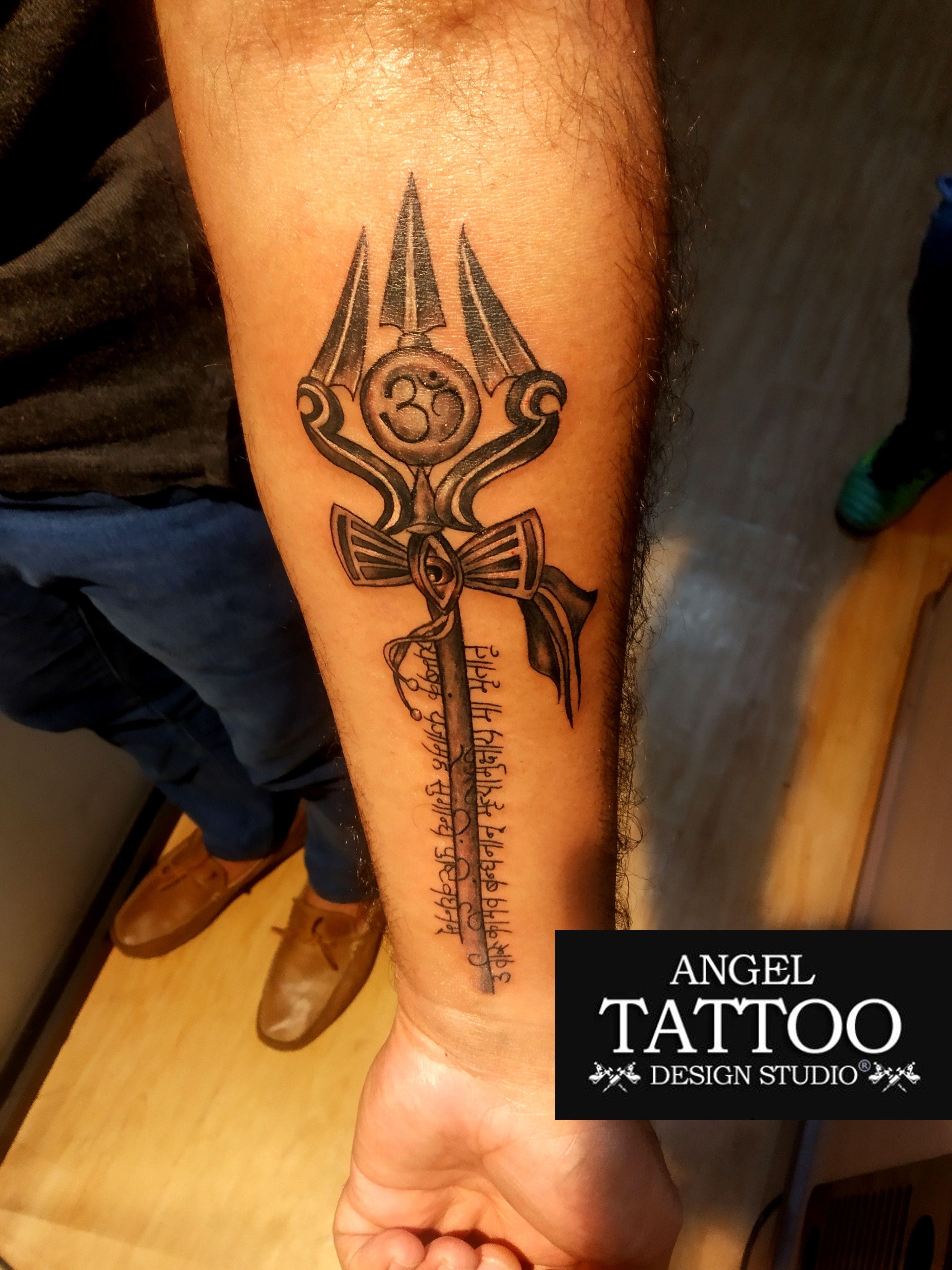 653ebbed44c9a Om Trishul Tattoo made on forearm at Angel Tattoo Design Studio- Gurgaon  #omtrishultattoo #trishultattoo #trishultattooonforearm
