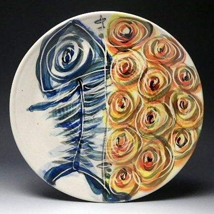Blue Fish Bone and Orange Spirals is a fun dinner plate to paint. The vibrant & Blue Fish Bone and Orange Spirals is a fun dinner plate to paint ...