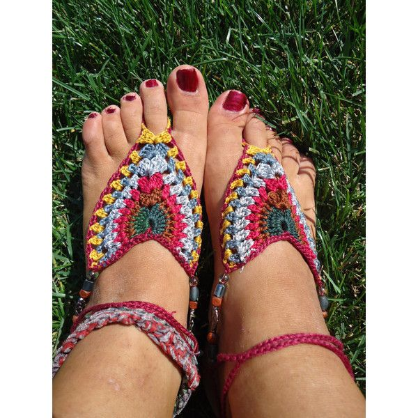 8f819ffc94451 Native American inspired crochet Barefoot Sandals by HorizonsEd3e ( 35) via  Polyvore