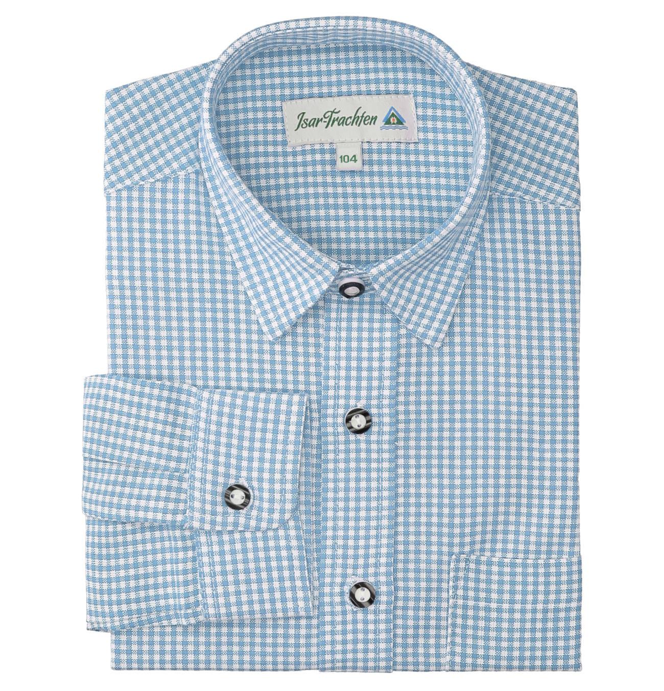 Hemd Baumwolle wei/ß Jungen Langarm Trachtenhemd Isar-Trachten Kinderhemd