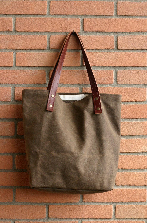 Waxed canvas bag - Tote bag - Handmade waxed canvas tote - Waxed ...