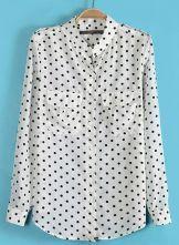 White+Long+Sleeve+Polka+Dot+Epaulet+Blouse+US$21.48
