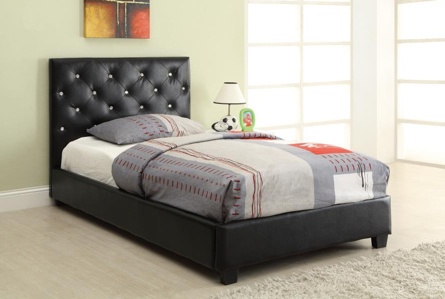 Black Rhinestone Tufted Twin Size Platform Bed 300391t Savvy Discount Furniture Upholstered Panel Bed Bed Furniture Twin Bed Furniture