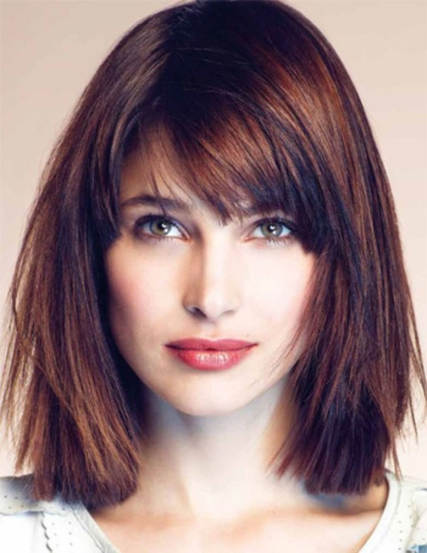 straight medium-length hairstyle for square face  Bangs with