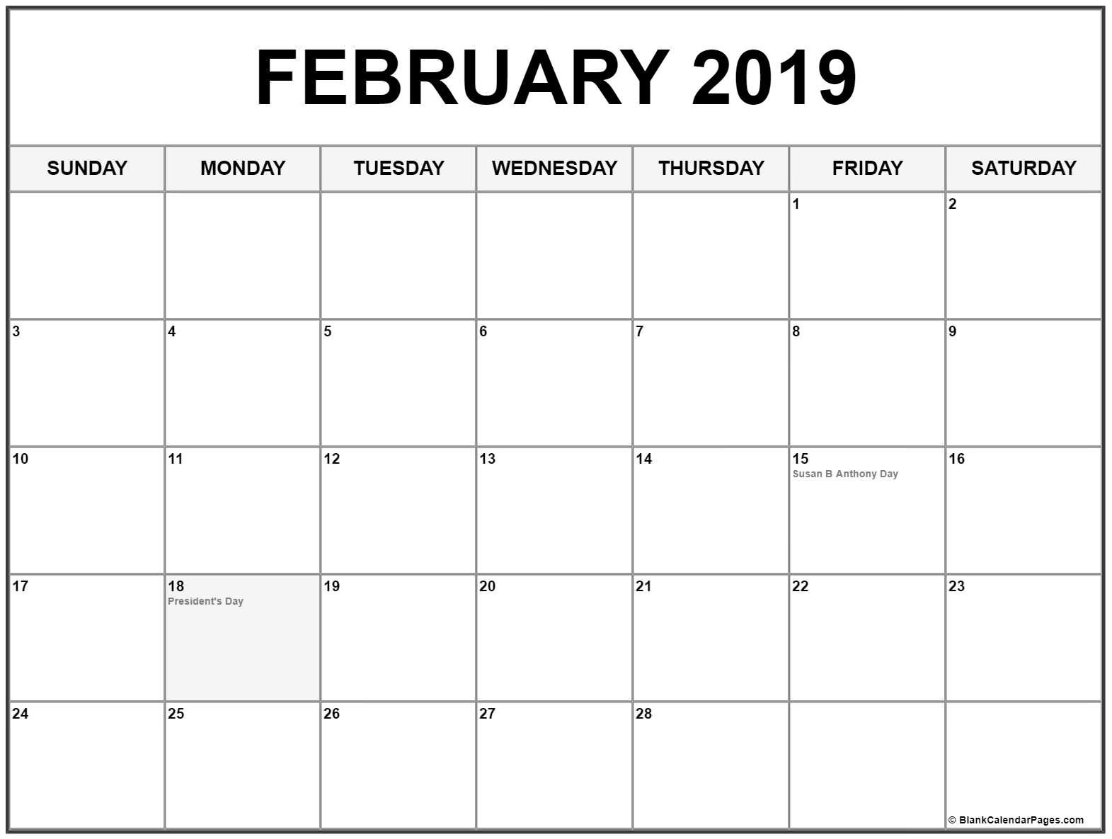 photo about Free Printable Calendar With Us Holidays called February 2019 calendar with vacations #February #2019