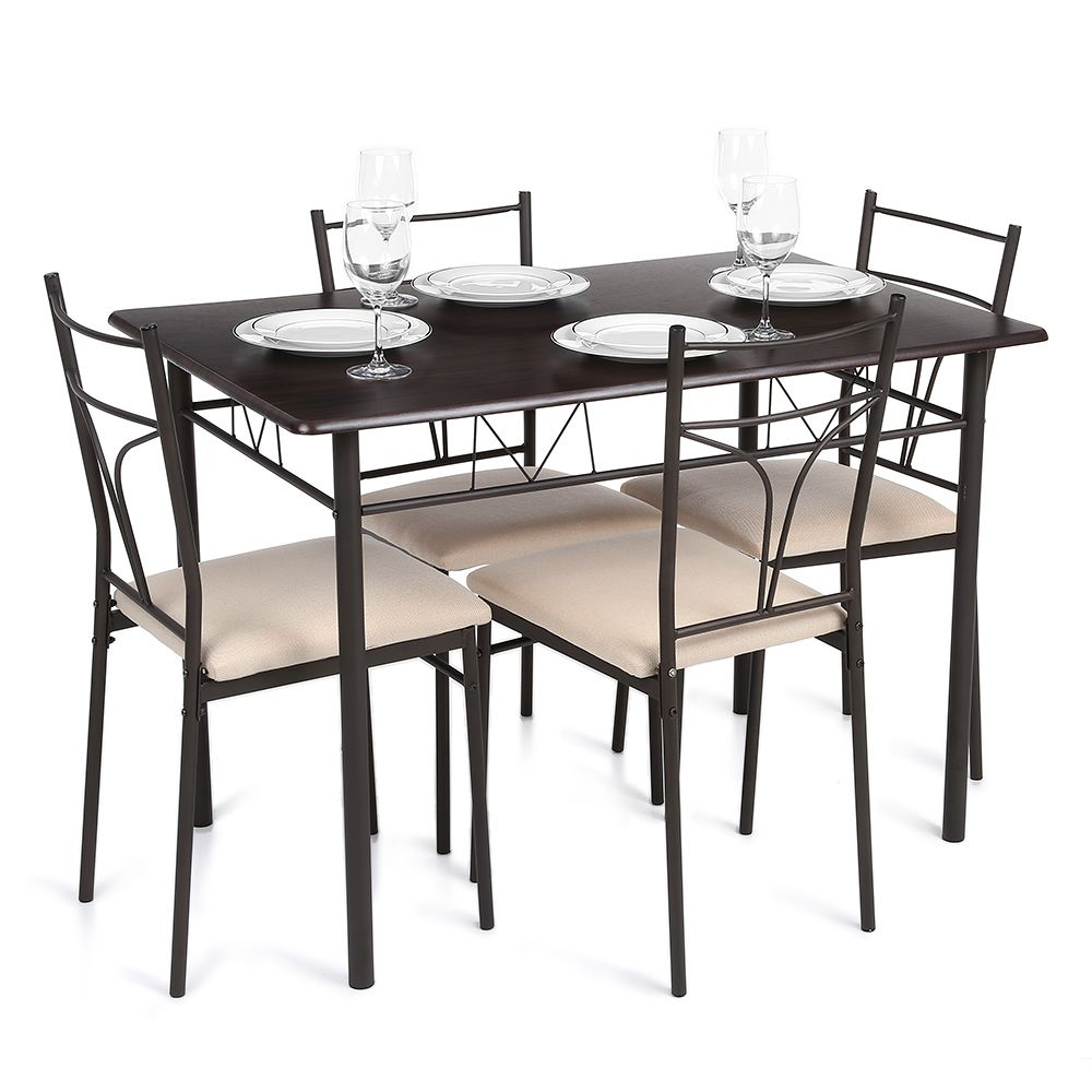 Brown Ikayaa Modern 5pcs Metal Frame Padded Dining Table Chairs Set Lovdock Com Modern Kitchen Tables Rectangle Dining Table Modern Kitchen Furniture