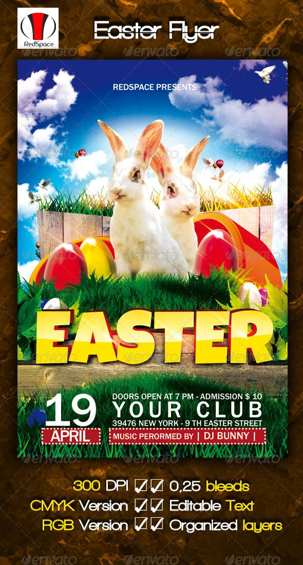 Easter Flyer Easter, Flyer template and Fonts