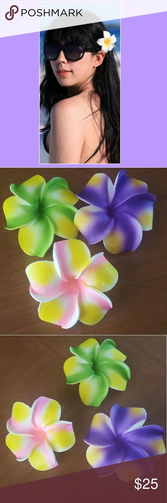 3 hawaiian flower hair clips boutique my posh picks pinterest 3 hawaiian flower hair clips flower placement in your hair actually has a meaning proper izmirmasajfo