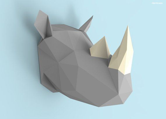 Rhino Head Papercraft Pdf Pack 3d Paper Sculpture Template With