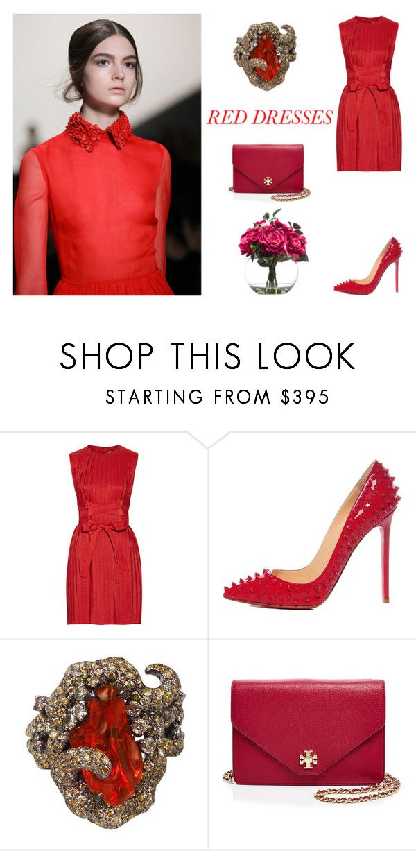 """RED DRESSES"" by sanskrit7 ❤ liked on Polyvore featuring Victoria, Victoria Beckham, Christian Louboutin, Plukka, Tory Burch, Lux-Art Silks, women's clothing, women, female, woman and misses"