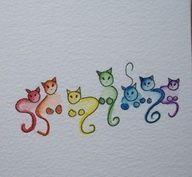 Kritzelnde Katzen … Zeichnen bunter Katzen … – Carola  Katzen #katzen - katzen #pumpkinpaintingideas