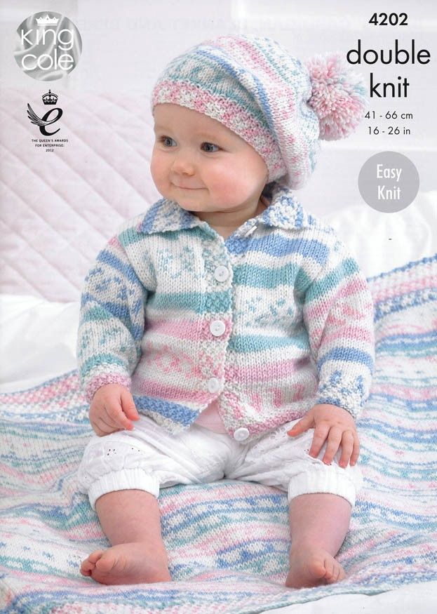 Babies' Cardigan, Blanket and Beret in King Cole Cherish ...