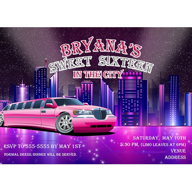 Pink limo limousine in the city night lights sweet 16 bachelorette pink limo limousine in the city night lights sweet 16 bachelorette birthday party personalized custom invitation stopboris Image collections