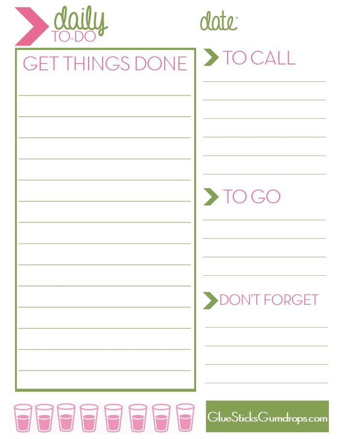 Free Printable Daily ToDo List  Glue Sticks Free Printable And