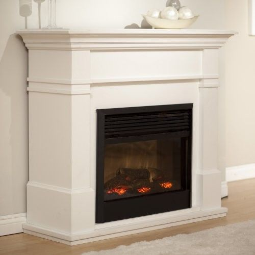 white contemporary electric fireplace