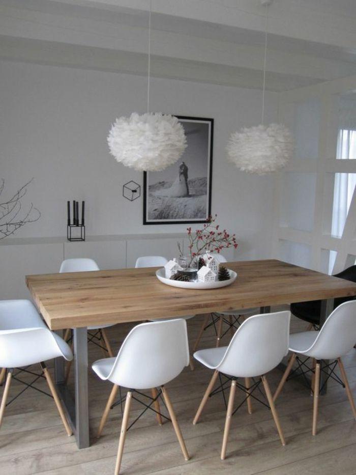 Quelle d co salle manger choisir id es en 64 photos chaise en plastique parquet clair et for Quelle chaise pour table en verre