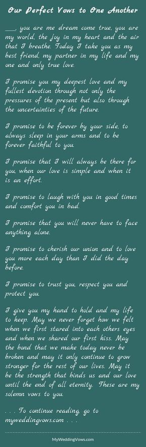 Our Perfect Vows To One Another Non Traditional Weddingstraditional