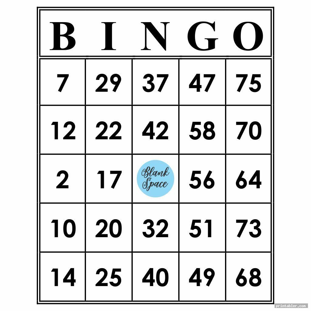 Printable Bingo Numbers 1 75 Template For Use In