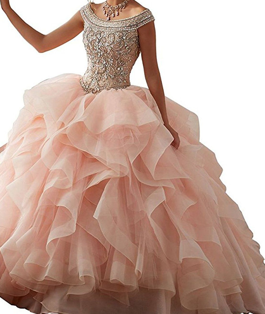 Bessdress Shoulder Sweet 16 Prom Dresses Beaded Ruffles Evening Party Ball Gown Bd282 Want Additional Info Click On The Ball Gowns Formal Ball Gown Gowns [ 1314 x 1107 Pixel ]