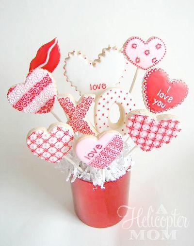 valentines day cookies cookie bouquet - Valentine Cookie