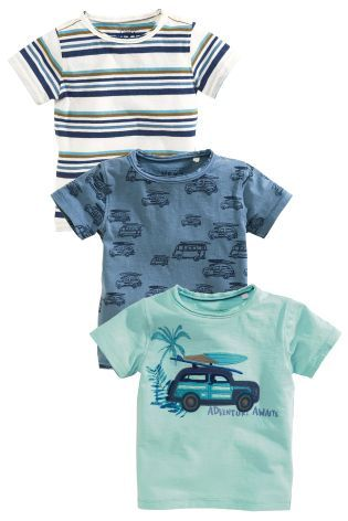 Buy Blue Car Short Sleeve T-Shirts Three Pack (3mths-6yrs) online today at Next: Hungary