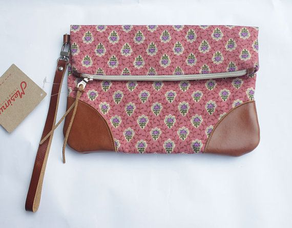 Clutch with classical floral pattern by MESIMU on Etsy, $32.00